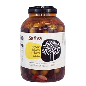 OLIV002_Sativa Chalkidiki Green and Kalamata Mix Olives_3kg